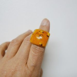 Orange statement square plastic ring